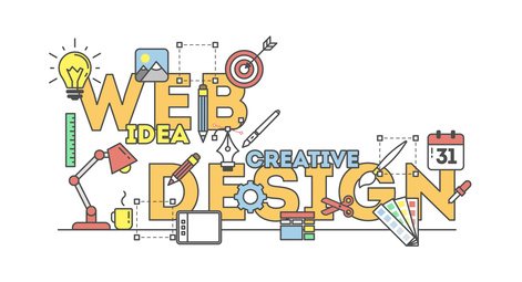Professionelle Webseitenerstellung - Webdesignillustration mit Icons. Konzept der Erstellung von Websites, Erstellen von Logos, UX, SEO und mehr. Weißer Hintergrund.